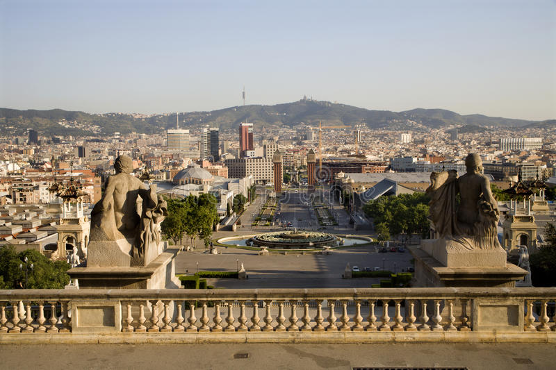Barcelona - outlook from palace Real. Morning stock photo