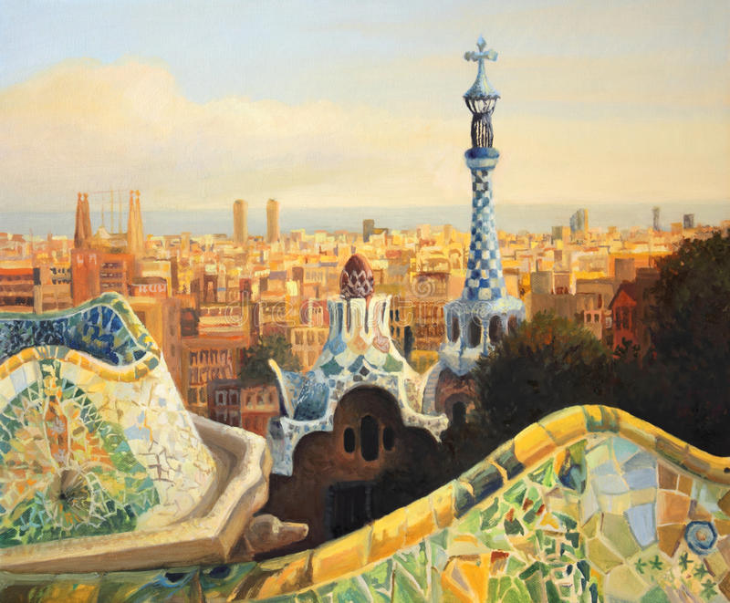 Download Barcelona Park Guell stock illustration. Illustration of illustration - 25212707