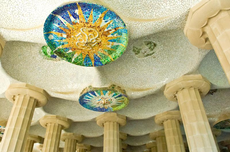 Barcelona Park Guell, built by Gaudi, mosaic at hundred columns Charmbre, Barcelona, Spain. Antoni Gaudi mosaics in the chambre of hundret columns, Barcelona royalty free stock images