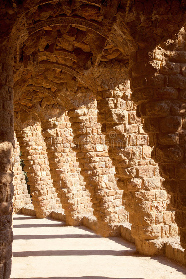 Barcelona Park Guell Of Gaudi Stone Columns Stock Image