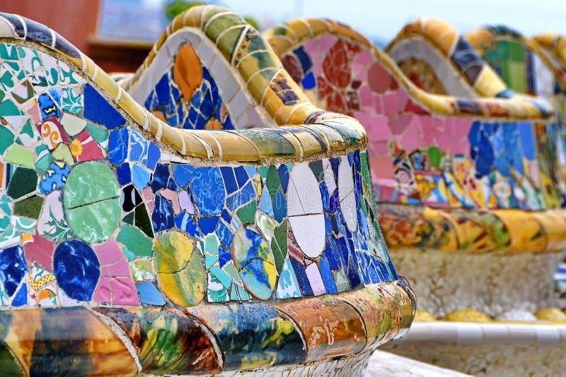 Barcelona - Parkowa Guell mozaika, Hiszpania obrazy stock
