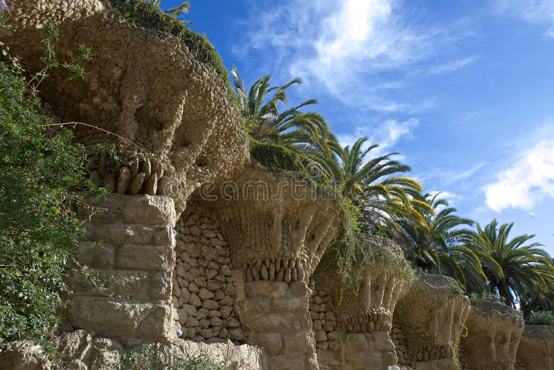Barcelona, parque Guel da Espanha fotos de stock royalty free
