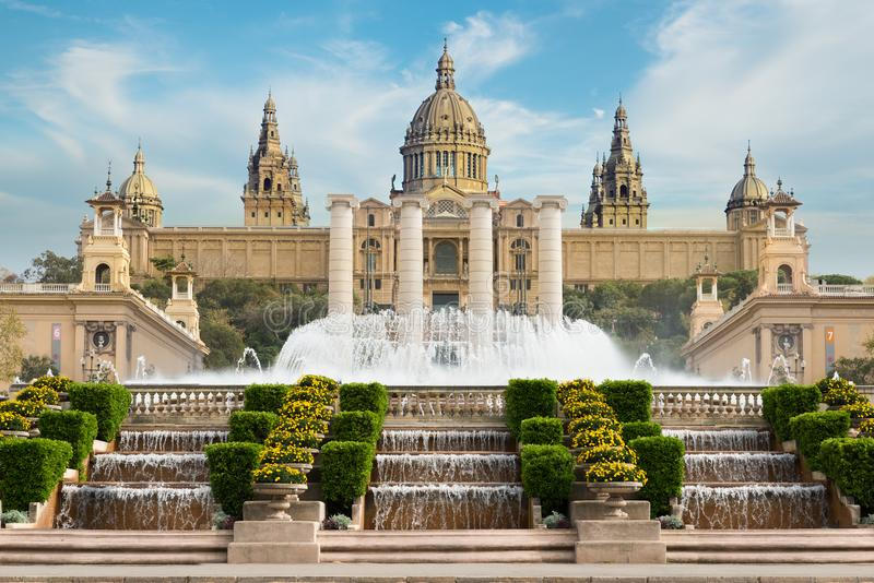 Barcelona Placa De Espanya, the National Museum with magic fount. Ain in afternoon at Barcelona. Spain. Famous landmark in Spain royalty free stock image