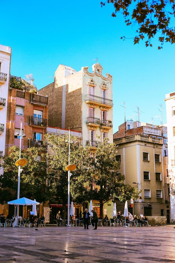 barcelona plamy ruchu ludzie zamykają wolnej prędkości ulicy obrazy royalty free
