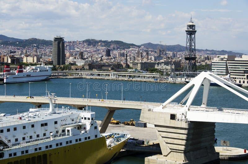 barcelona port royaltyfri foto