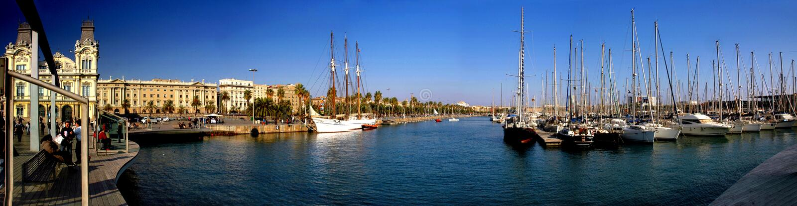 barcelona port royaltyfria bilder