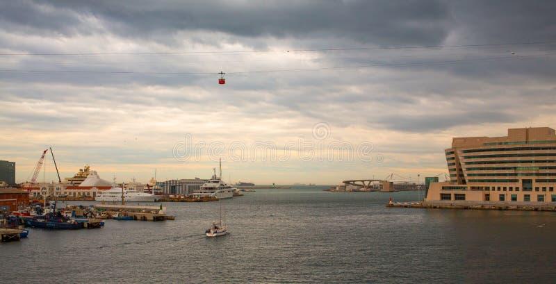 Barcelona Port Cruisers Terminal stormy sky stock image