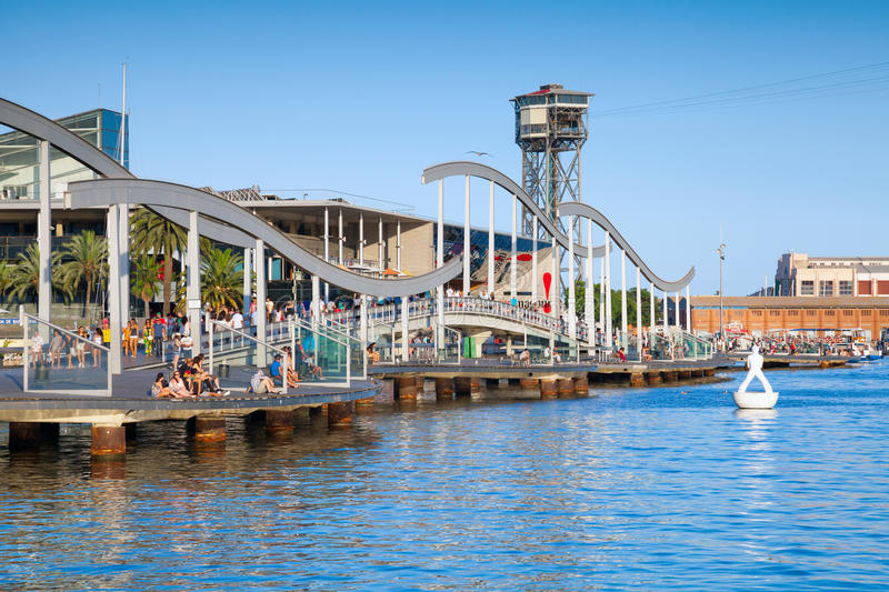 Barcelona port view with Montjuic cable car tower and bridge royalty free stock photos