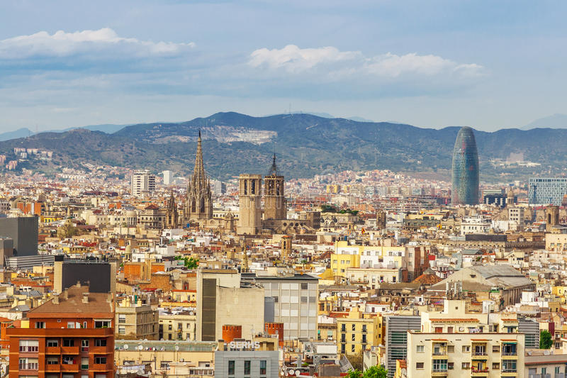 Barcelona przyciągań pejzaż miejski Barcelona fotografia royalty free