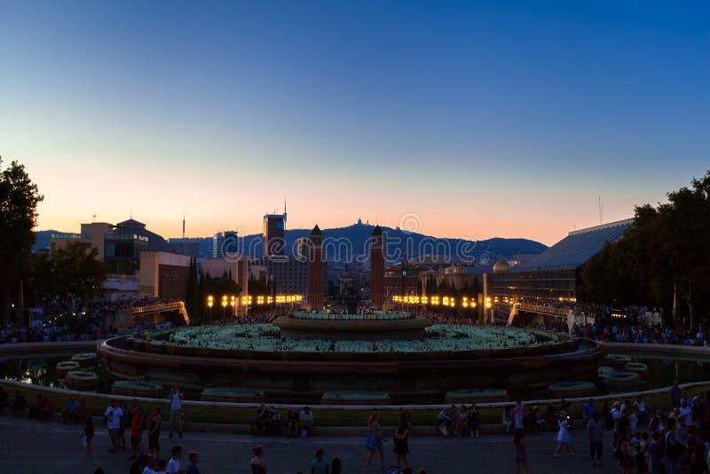 Barcelona, Quadrat von Spanien am Abend, Plaza de Espana lizenzfreie stockfotografie