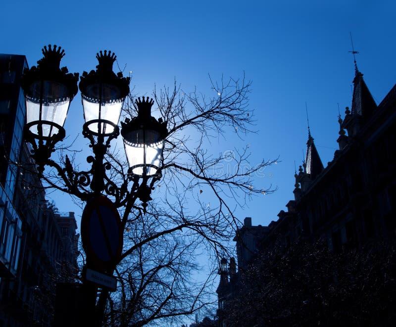 Barcelona Rambla Catalunya streetlights backligth zdjęcie royalty free