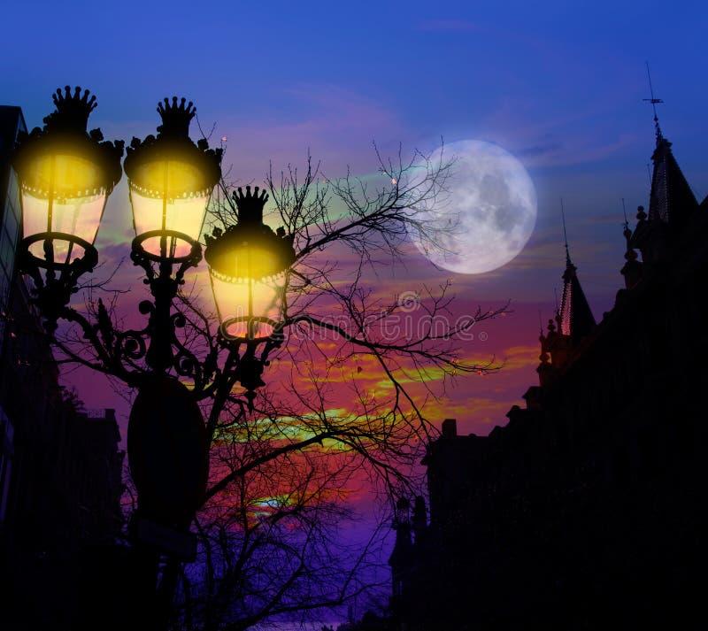 Free Barcelona Rambla Catalunya Streetlights Backligth Royalty Free Stock Photography - 25054447