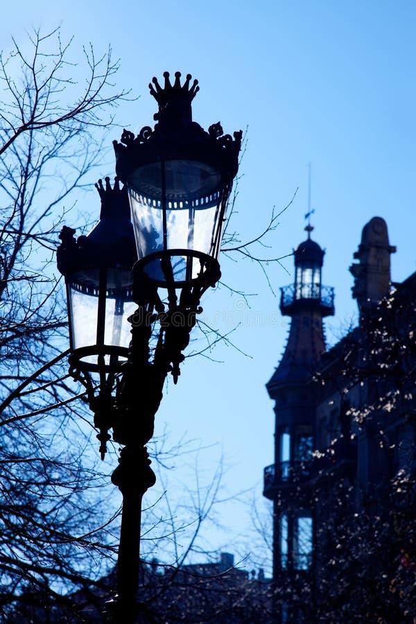 Barcelona Rambla Catalunya streetlights backligth fotografia stock