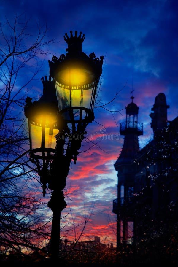 Barcelona Rambla Catalunya streetlights backligth zdjęcia royalty free