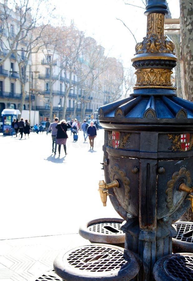 Barcelona Ramblas uliczny życie w jesieni fotografia stock