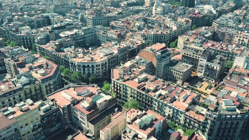 Barcelona residential area blocks pattern aerial view, Spain royalty free stock photography