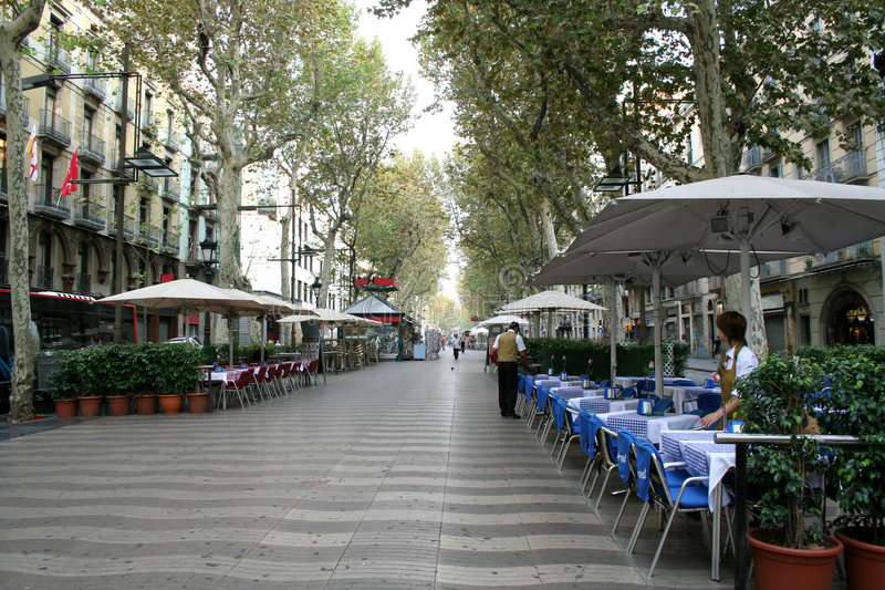 Barcelona's Rambla street. Rambla street in morning. Barcelona, Spain stock photos