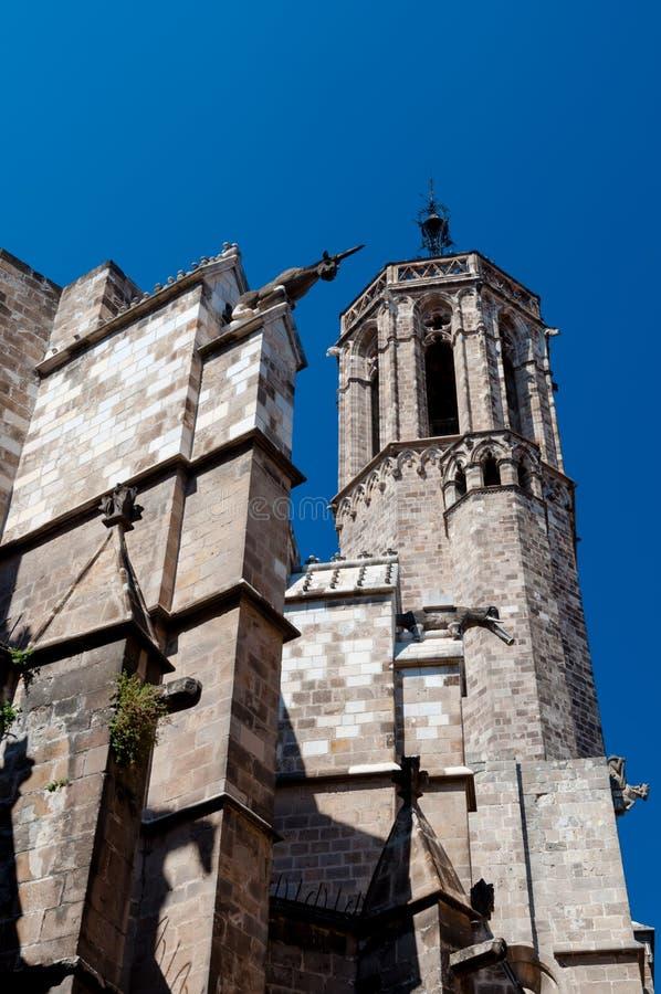 Barcelona Santa Eulalia Katedralne ściany i wierza zdjęcia stock