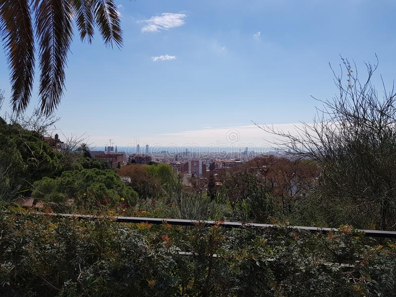 Barcelona seen from Park Guell stock photo