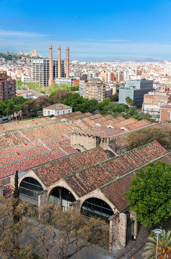 Barcelona sikt från överkant av Columbus Statue royaltyfri fotografi