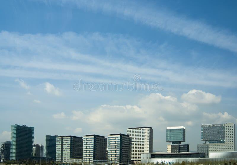 Barcelona skyline. On a cloudy sky stock photography