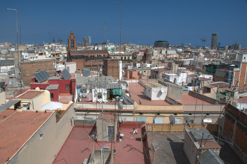 Barcelona skyline. Barrio Gotico and Via Olimpica, Spain royalty free stock photos