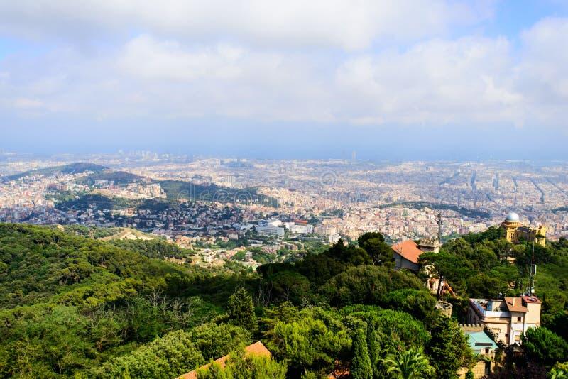 Barcelona skyline. On cloudy day stock photo