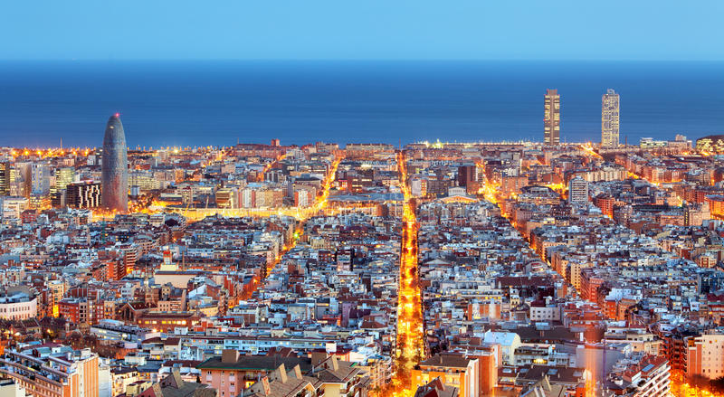 Barcelona skyline, Aerial view at night, Spain.  royalty free stock images
