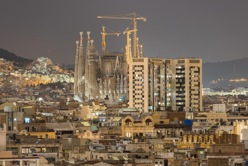 Barcelona Skyline. Aerial view of the Barcelona Skyline and the Sagrada Familia at night in Catalonia, Spain stock photography