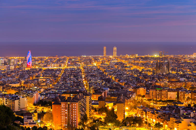 Barcelona skyline at Blue Hour. Barcelona skyline in the afternoon at Blue Hour royalty free stock photo