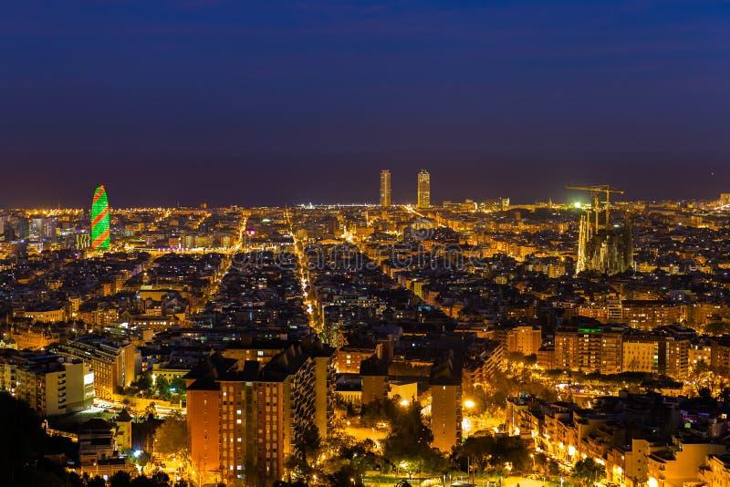 Barcelona skyline during Christmas period. Barcelona skyline by night during Christmas period royalty free stock image