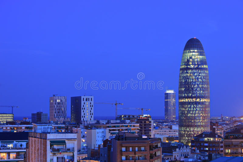 Barcelona skyline depicting Torre Agbar. Spain, by night royalty free stock images