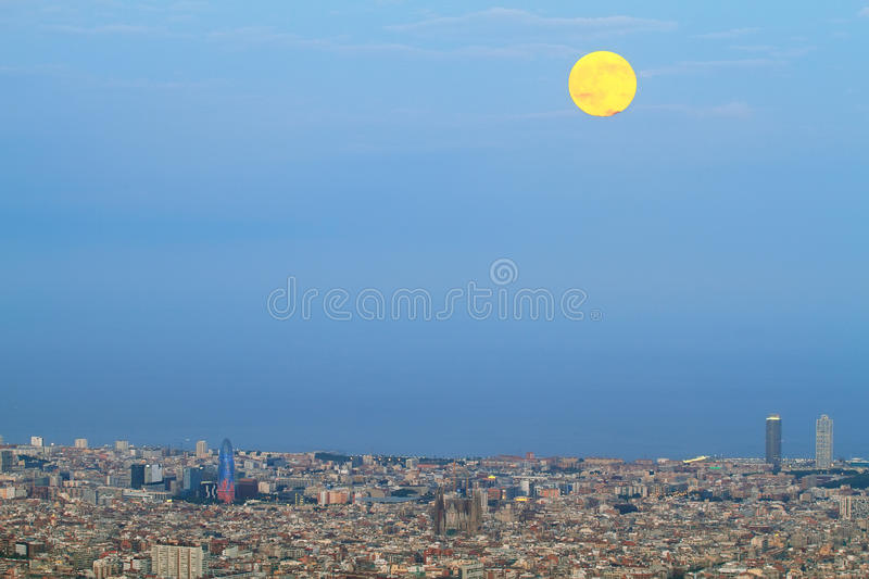 Barcelona skyline at dusk. With Agbar tower and Sagrada Familia standing out royalty free stock image