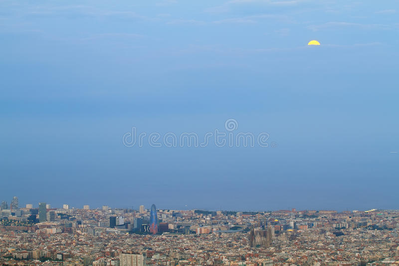 Barcelona skyline at dusk. With Agbar tower and Sagrada Familia standing out royalty free stock photography