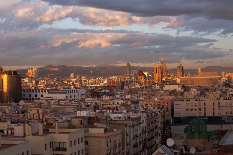 Barcelona Skyline. At dusk in winter stock image