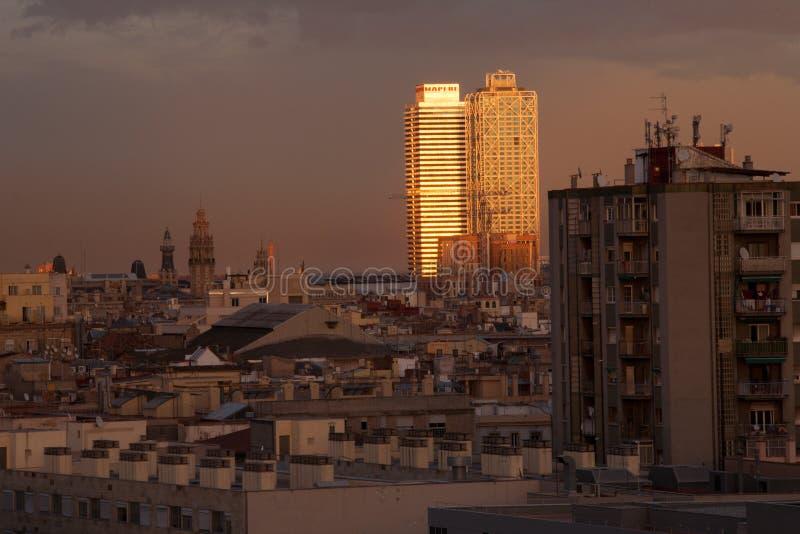 Barcelona Skyline. At dusk in winter stock photo