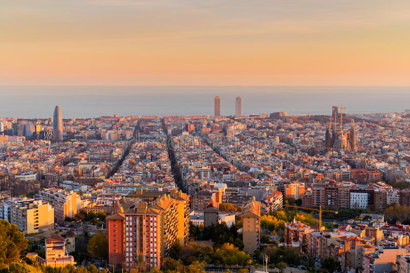 Barcelona skyline at Golden Hour. Barcelona skyline in the afternoon at Golden Hour royalty free stock image