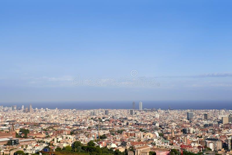 Barcelona skyline horizon from Tibidabo. Barcelona skyline horizon high view with sea from up Tibidabo mountain royalty free stock photo