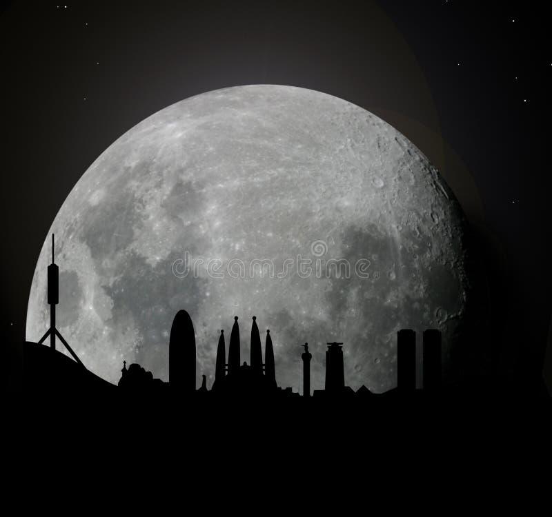 Download Barcelona Skyline At Moonlight Stock Illustration - Image: 8507658