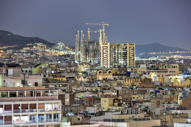 Barcelona Skyline. At night in Catalonia, Spain stock photo