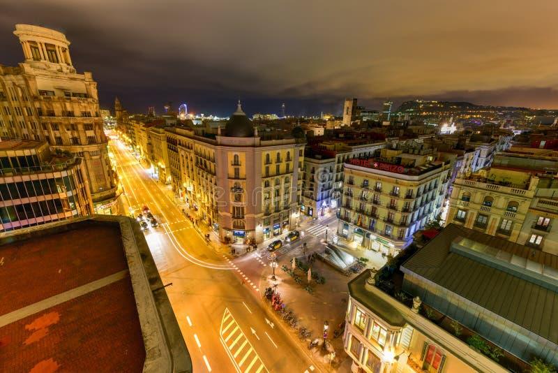Barcelona Skyline. At night in Catalonia, Spain stock photography