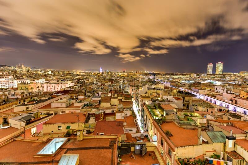 Barcelona Skyline. At night in Catalonia, Spain royalty free stock photo