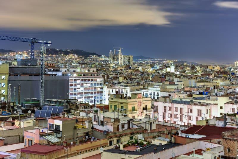 Barcelona Skyline. At night in Catalonia, Spain royalty free stock photos