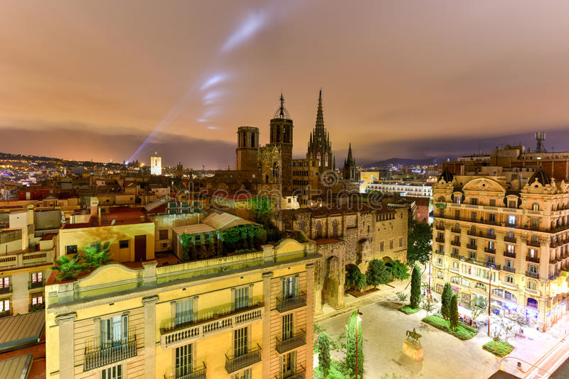 Barcelona Skyline. At night in Catalonia, Spain royalty free stock images