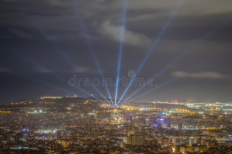 Barcelona skyline at night from Tibidabo stock photo