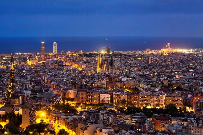 Barcelona skyline night stock image
