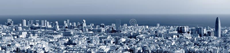 Download Barcelona skyline panorama stock image. Image of toned - 18407655