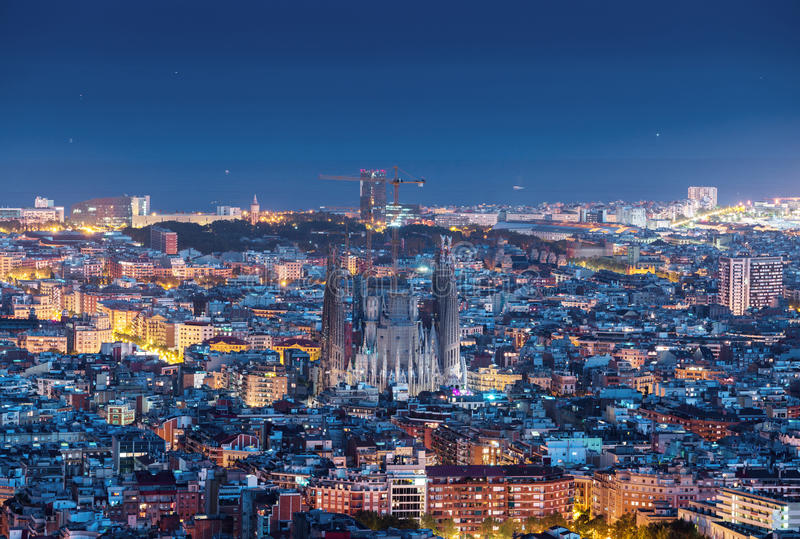 Barcelona skyline panorama at night. Spain royalty free stock photo