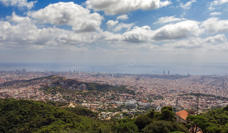 Barcelona skyline. Panoramic view a summer day in Spain royalty free stock photo