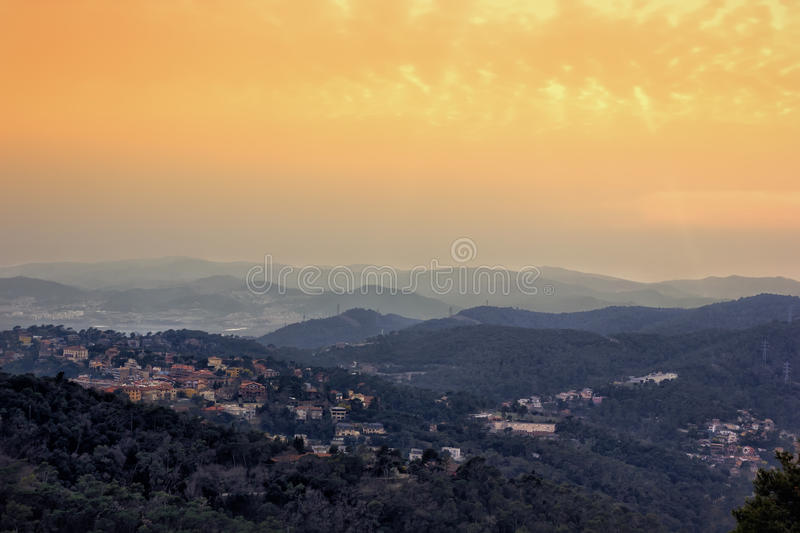 Barcelona skyline. Panoramic view of Barcelona from Tibidabo mountain at sunset stock images